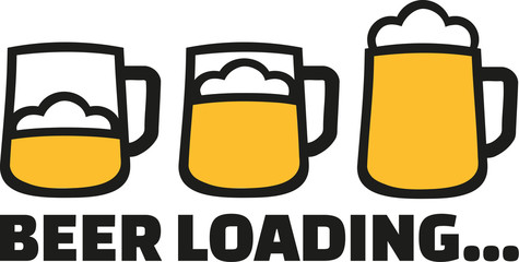 Beer Loading with three mugs and foam