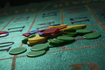 fiche dettaglio su tavolo verde da roulette
