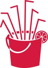 Bucket with sangria straws and lemon