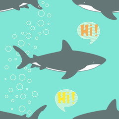 Seamless Pattern with cute sharks.