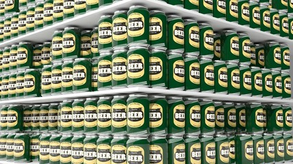 3D rendering with closeup on supermarket shelves with beer cans.