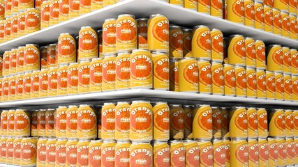 3D rendering with closeup on supermarket shelves with orange drink cans.