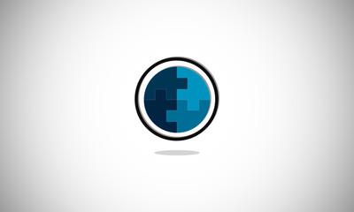 blue puzzle design logo