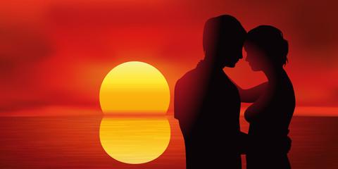 Amoureux - Coucher de soleil