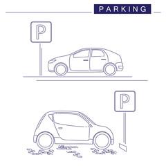 Line art. Parking design on a white background. Parking sign. Cars.