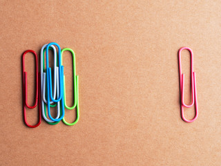 paper clips on the cardboard box background