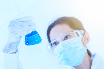 Scientist with laboratory background and concept.