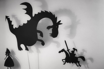 Dragon, Princess and Knight shadow puppets