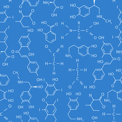 Vector seamless pattern of chemical formulas on blue background.