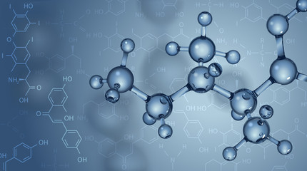 Vector background. Molecules and chemical formulas.