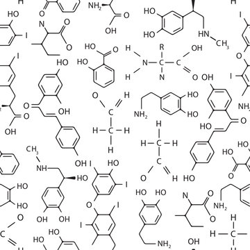 Vector seamless pattern of chemical formulas. Black and white.