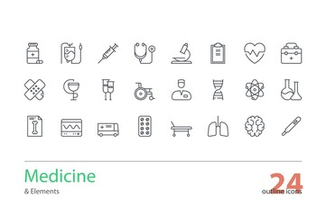 Medicine and Health. Thin line icons set. Line art
