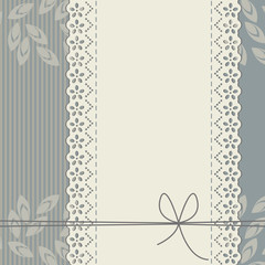Stylish lace frame with bows, decorative leaves and lines