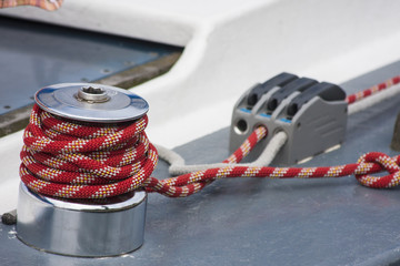 Sailing boat detail - from the capstan rope sailing