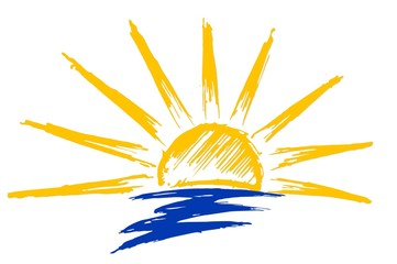 Drawing of sun and sea.