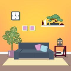 Modern Interior. Living Room. Room Design. Minimalism Style. Room with Furniture