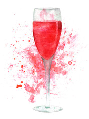 Watercolor glass of sparkling rose wine with background splash