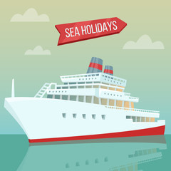 Travel Banner. Sea Holidays. Passenger Ship. Cruise Liner. Tourism Industry