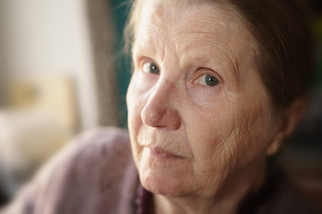 portrait of senior woman in living room, shallow focus photo
