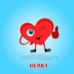 Heart Smiling Cartoon Character With Thumb Up Icon Banner