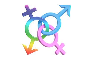 gender symbols, 3D rendering