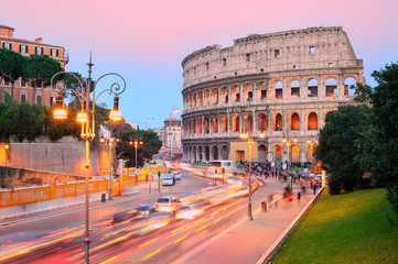 Colosseum, Rome, Italy, on sunset