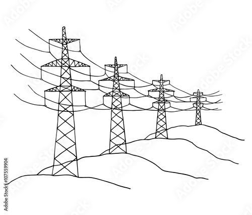 Cartoon Power Lines Delivering Energy Standing In A Row Sketch High