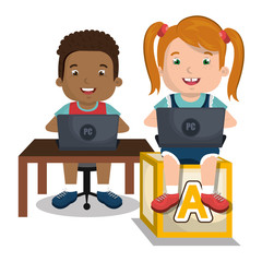 children interacting with laptop