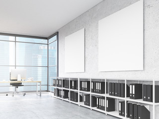 Office interior with blank posters