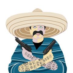 Mexican, hat, gun, gun, tattoo, poncho