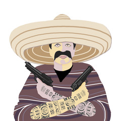 Mexican, hat, gun, gun, tattoo, poncho