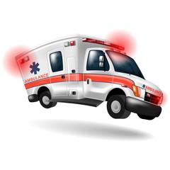 ambulance speeding ,vector cartoon