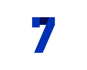 7 blue ribbon number logo