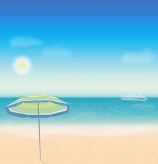 Summer holidays vector background with sea , beach, sun umbrella and yacht