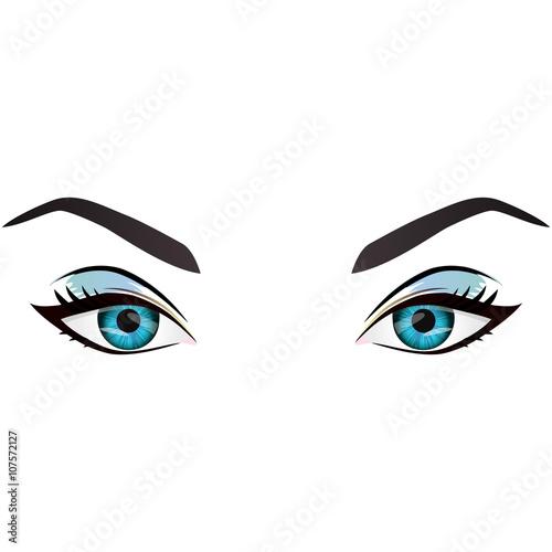 """Realistic cartoon vector female eyes and eyebrows"" Stock ..."