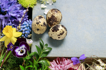 Easter decorations with springtime flowers, quail eggs and hay