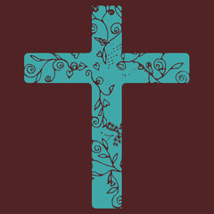 Cross in Blue color design on dark purple background with flora line art for decorate as Christianity.