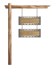 Wood sign hanging suspended with chains on pole