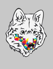 Rainbow Wolf Head, art vector design