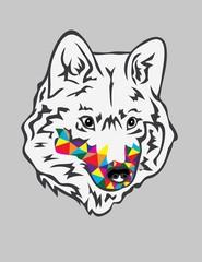 Rainbow Wolf Head, art vector design
