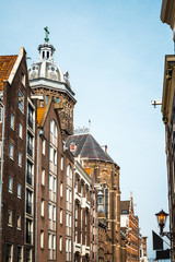 street view of Traditional old buildings in Amsterdam, the Nethe