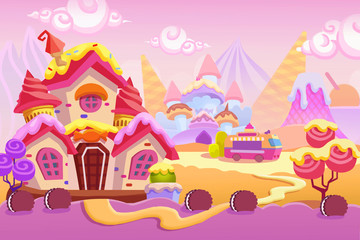 Creative Illustration and Innovative Art: Background Set 1: Ice cream Town. Realistic Fantastic Cartoon Style Artwork Scene, Wallpaper, Story Background, Card Design