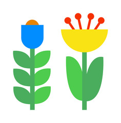Flower icons colorful plants nature flat vector.