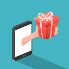 Concept of Online Gift by Smartphone. Vector illustration.