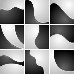 Set of black and white wavy backgrounds