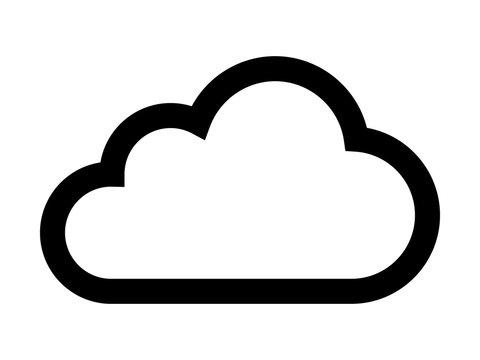 Cloud drive storage or cumulus cloud line art icon
