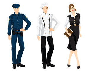 Vector illustration of professional people isolated on white background.