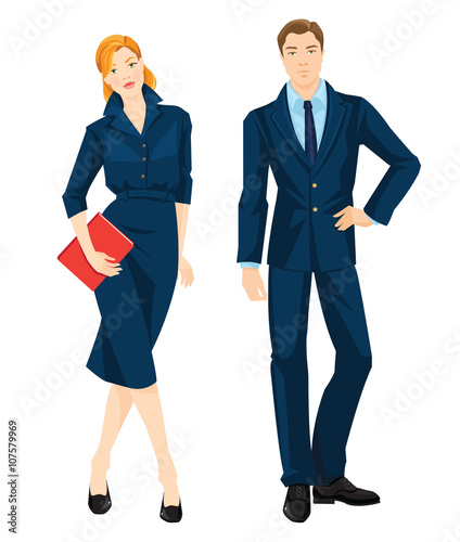 Vector Illustration Of Corporate Dress Code Young Redhead Woman In