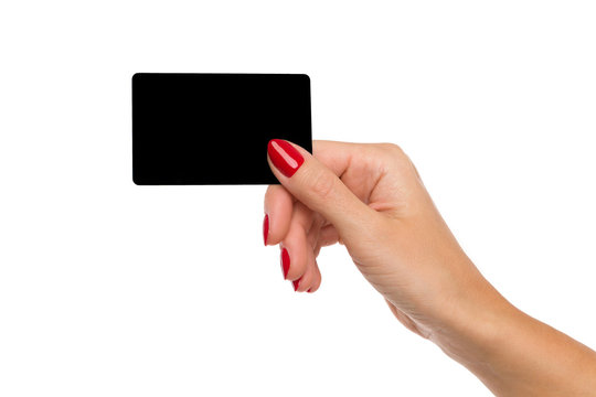 Woman's Hand Holding Black Card