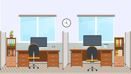 Office interior with workstation. Workplace in office space.